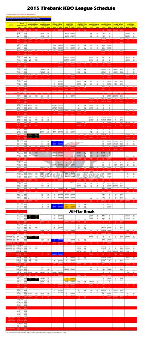 2015 KBO League Regular Season Schedule